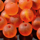 One strand of 48, Cultured Faux Sea Glass Beads, Tangerine, 4mm