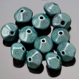 CLEARANCE 12 Czech glass meteorite beads in teal luster, 12 x 8mm