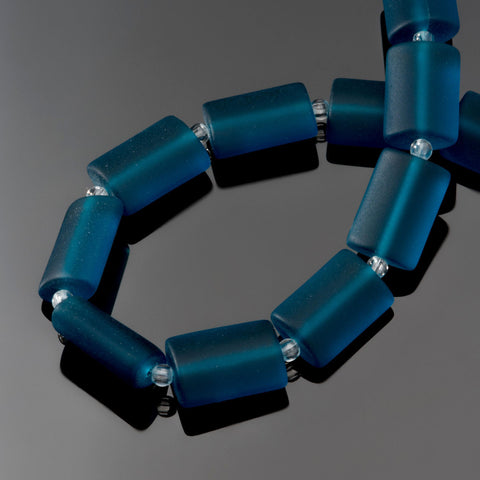 12 Sea glass Teal blue rectangle pillow beads, 14 x 10mm