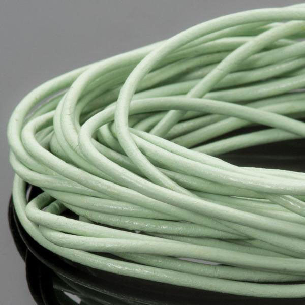 10 feet 2mm Premium round leather cord, Thai Celadon
