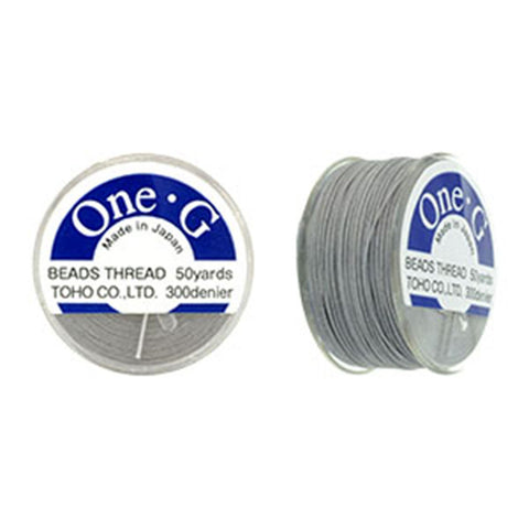 50 Yard Spool, Light Gray Toho One-G 100% Nylon beading thread