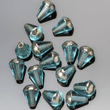 CLEARANCE 15 Transparent blue silver Picasso faceted drop top cut Czech glass beads, 8 x 6mm