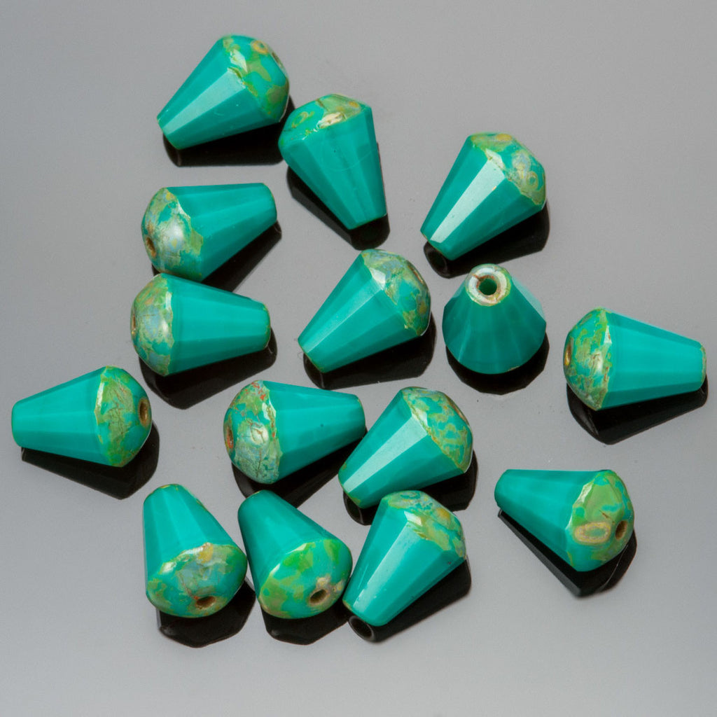 25 Turquoise Picasso faceted drop top cut Czech glass beads, 8 x 6mm
