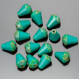 CLEARANCE 15 Turquoise Picasso faceted drop top cut Czech glass beads, 8 x 6mm