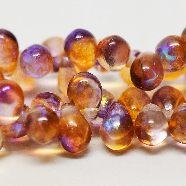 50 Czech Glass Topaz Celestial tear drops, 4 x 6mm