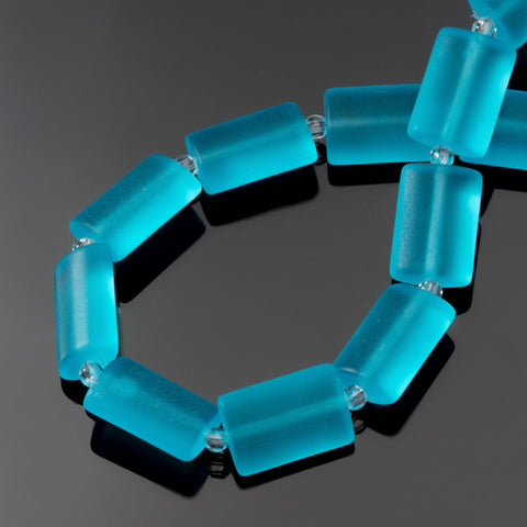 12 Sea glass Turquoise bay blue rectangle pillow beads, 14 x 10mm