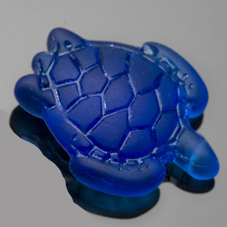 1 Cultured Faux Sea Glass Large Sea Turtle Pendant, Royal Blue, 35 x 27mm