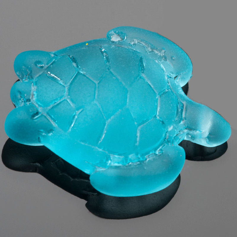 1 Cultured Faux Sea Glass Large Sea Turtle Pendant, Turquoise Bay, 35 x 27mm