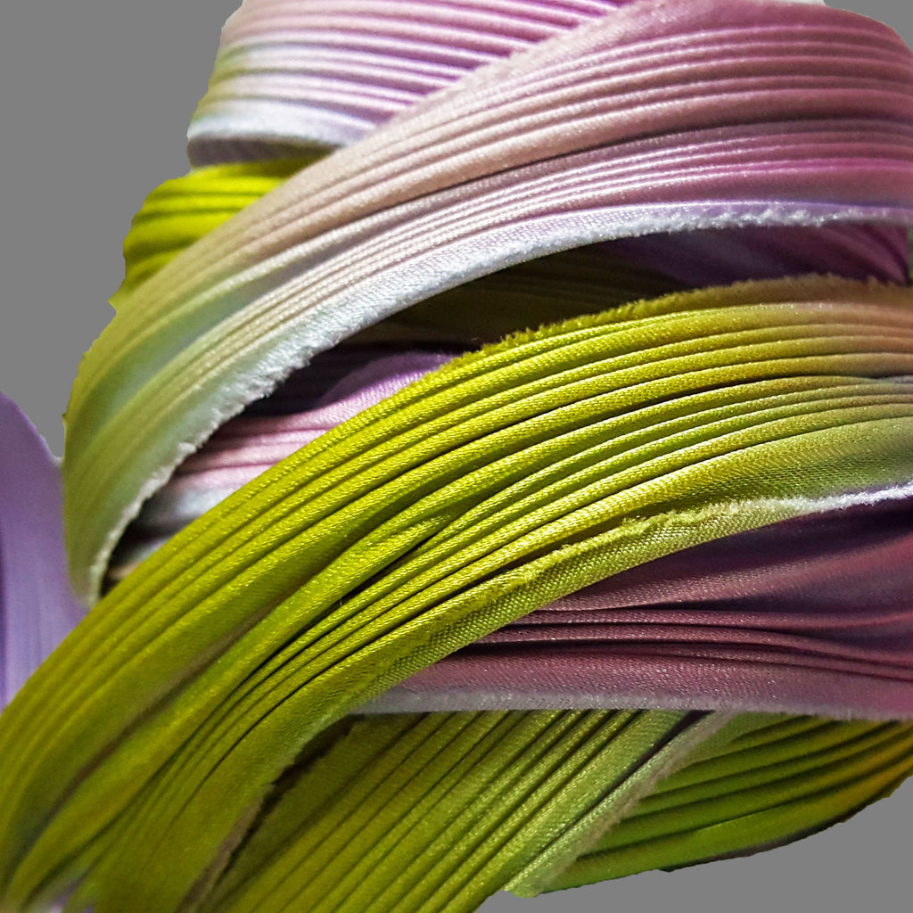 CLEARANCE Silk Shibori ribbon, Wisteria, several length options