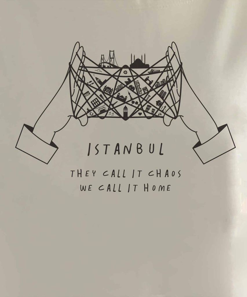 "The graphic of cat's cradle with Istanbul attractions on the thread and slogan of ""they call it chaos, we call it home"""