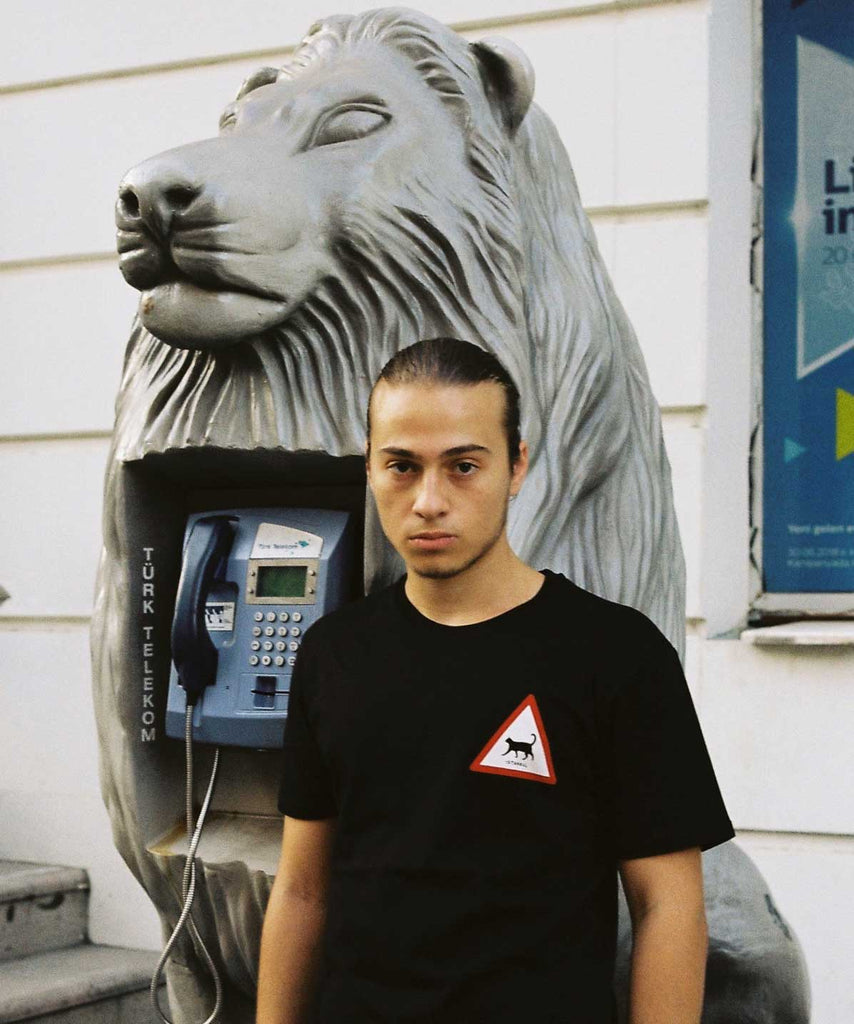 A guy is standing next to a lion telephone booth and wearing Istanbul Cat Traffic black t-shirt of Aponia Store.