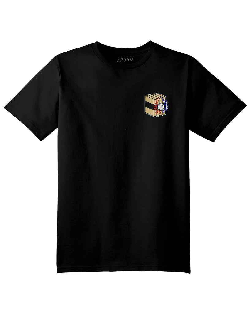 A black t shirt with a graphic of bomb books