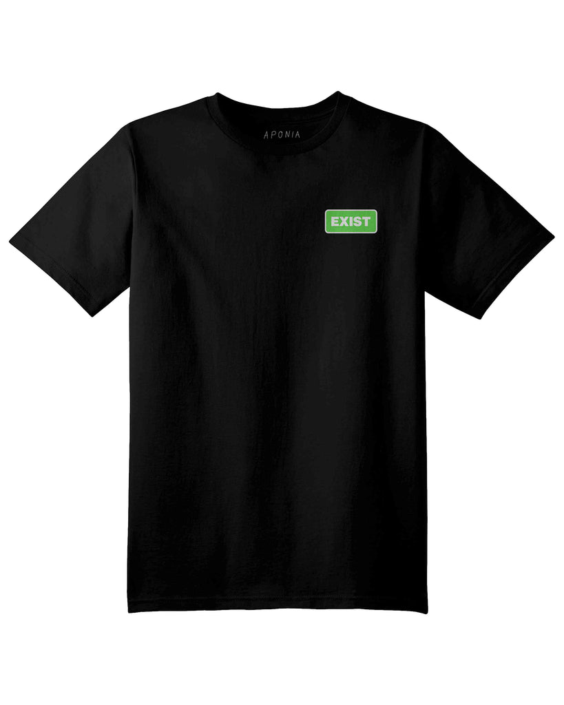 A black t shirt with the graphic of green exist sign