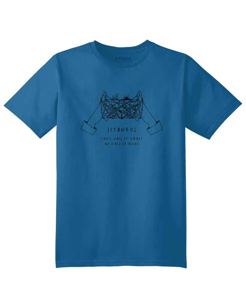 "A blue t shirt with a graphic of cat's cradle with Istanbul attractions on the thread and slogan of ""they call it chaos, we call it home"""