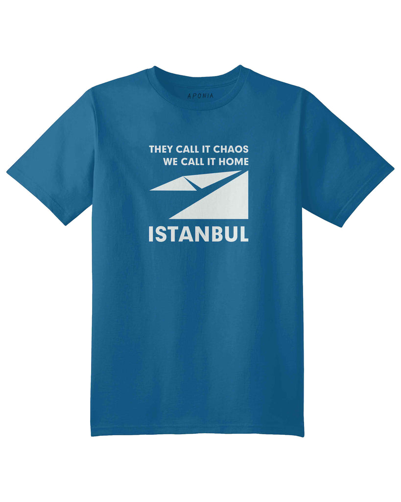 "A blue t shirt with a graphic of Istanbul map logo and slogan of ""they call it chaos,we call it home"""