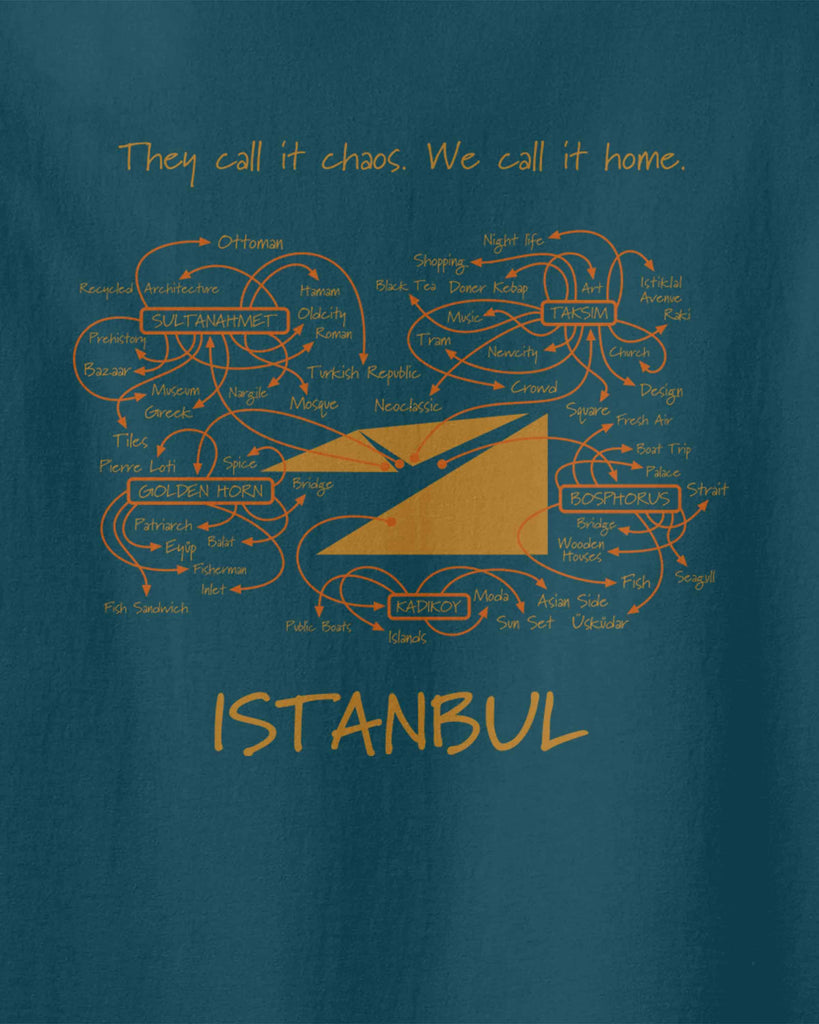 "The graphic of Istanbul map including written attractions on it and slogan of ""they call it chaos, we call it home"""