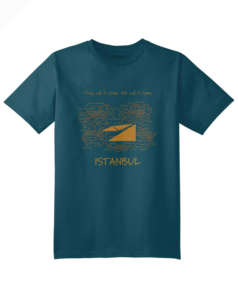 "A blue t shirt with the graphic of Istanbul map with written attractions on it and slogan of ""they call it chaos, we call it home"""