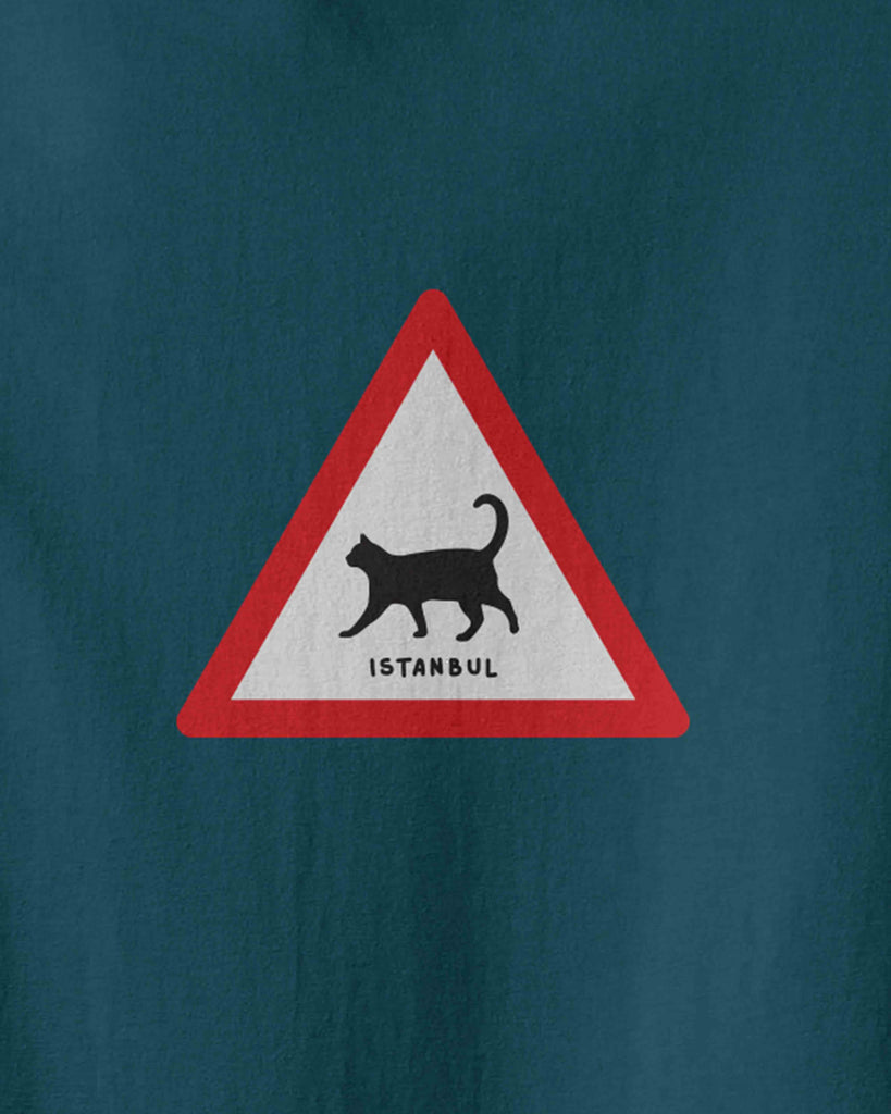 The graphic of a walking cat triangle traffic sign and underwritten of Istanbul