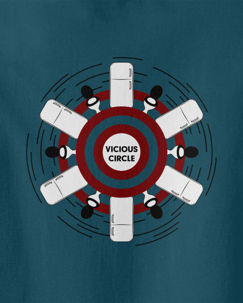 "the graphic of a circle including some toilets and fridges with slogan of ""vicious circle"""