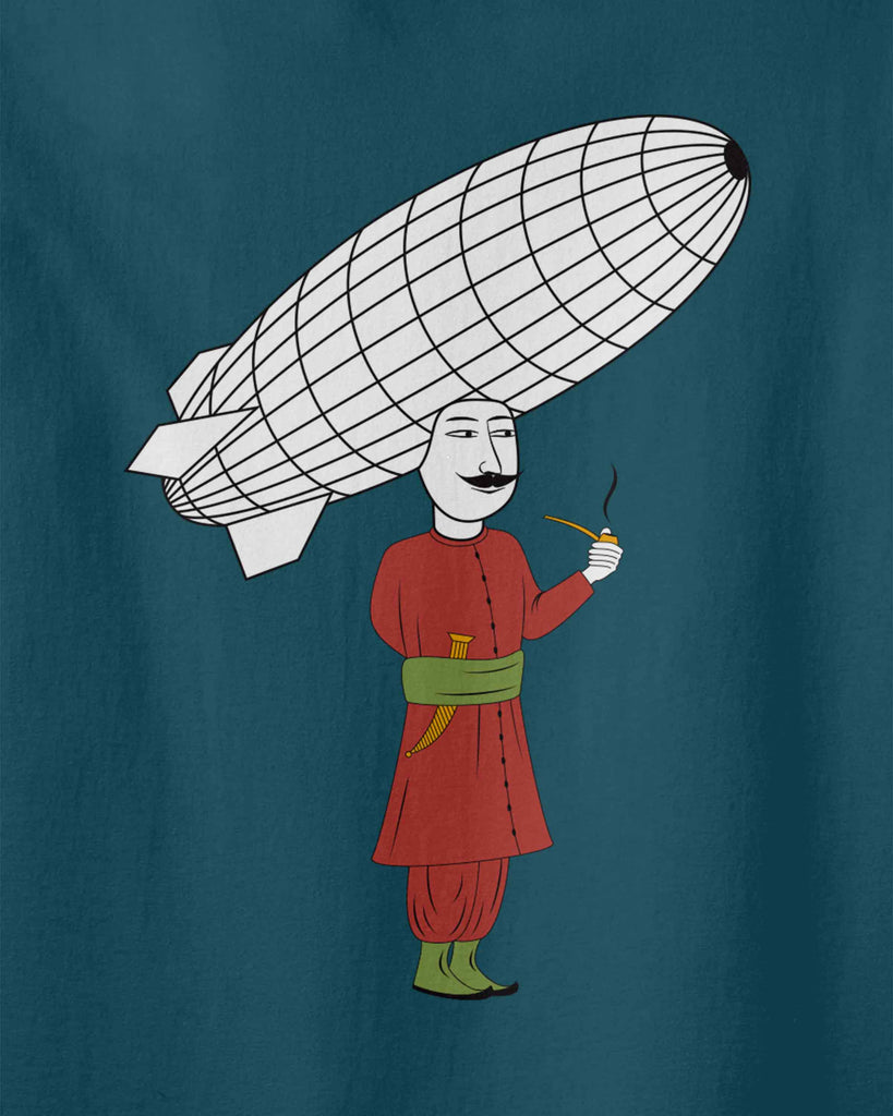 graphic of Ottoman soldier who is smoking while a big zeppelin is on his head