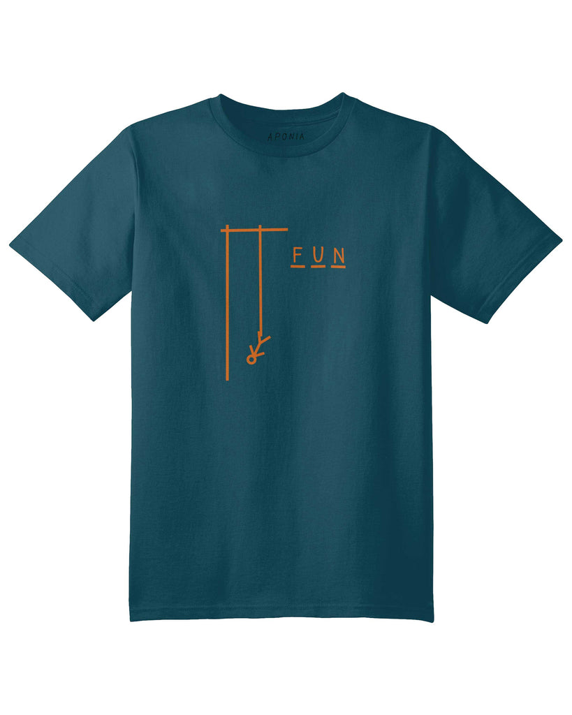 A petrol blue t shirt with the graphic of hangman game with slogan of Fun