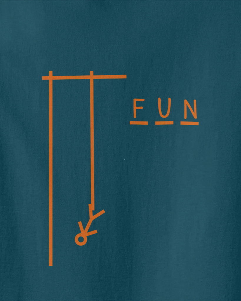 Graphic of hangman game with F U N letters next to it