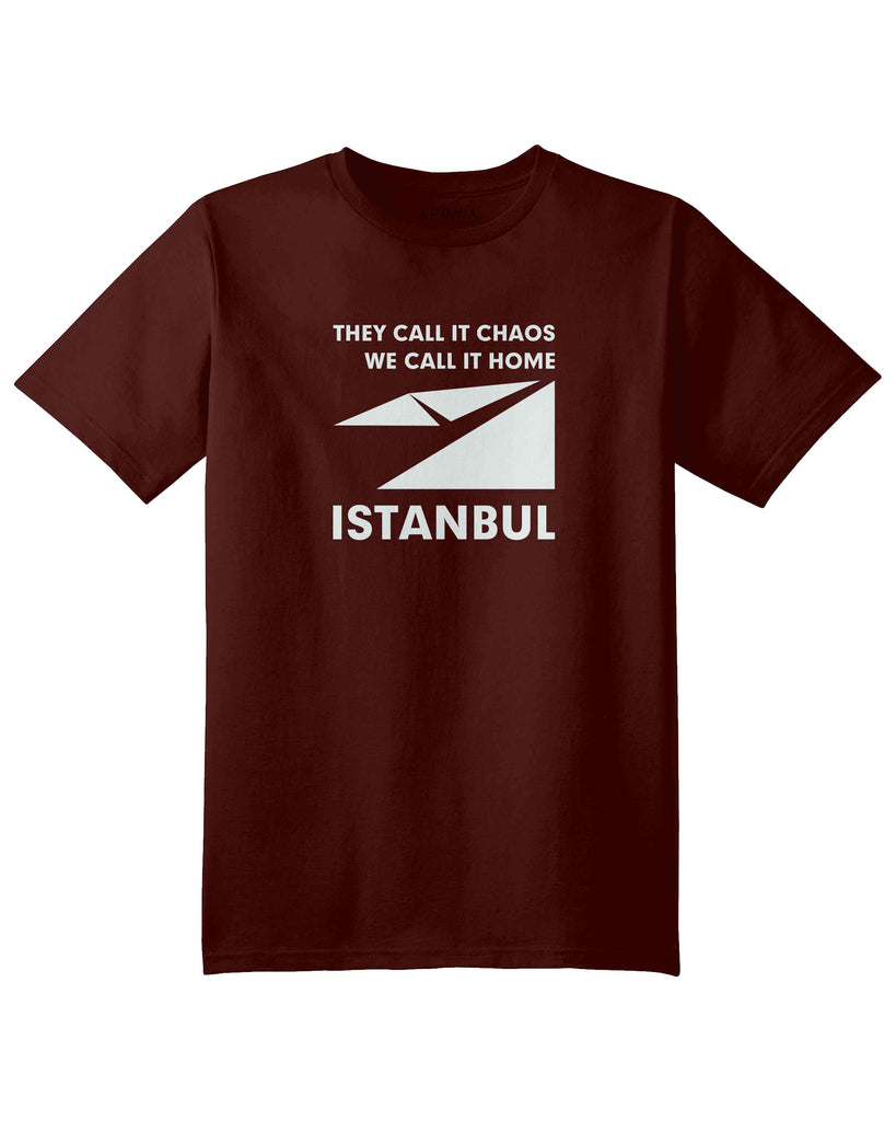"A red brown t shirt with the graphic of Istanbul map logo and slogan of ""they call it chaos,we call it home"""