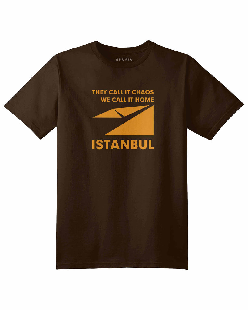 "A brown t shirt with a graphic of Istanbul map logo and slogan of ""they call it chaos,we call it home"""