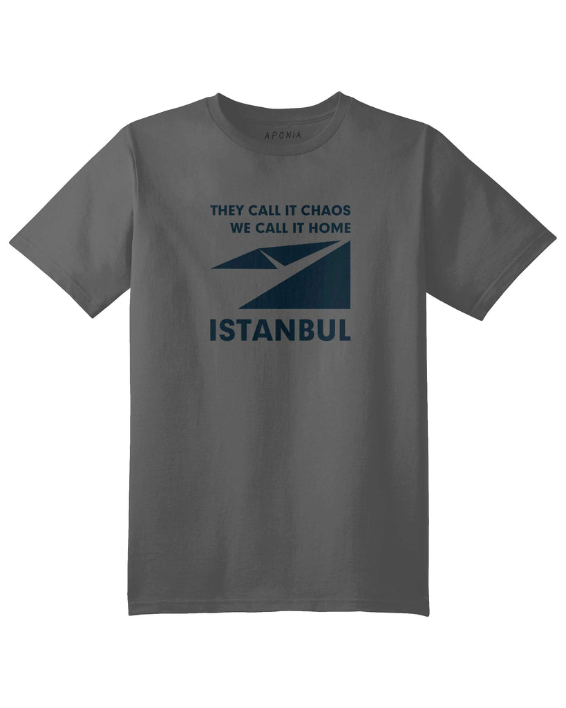 "A gray t shirt with a graphic of Istanbul map logo and slogan of ""they call it chaos,we call it home"""