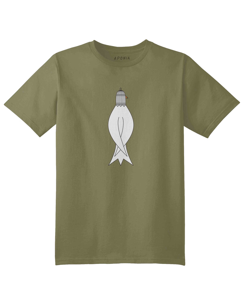 An olive green t shirt with the graphic of a bird with a cage on head