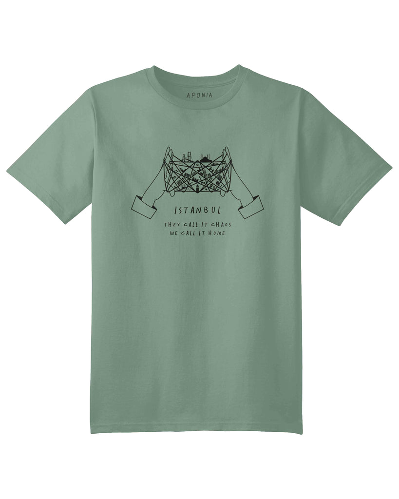 "A green t shirt with a graphic of cat's cradle with Istanbul attractions on the thread and slogan of ""they call it chaos, we call it home"""