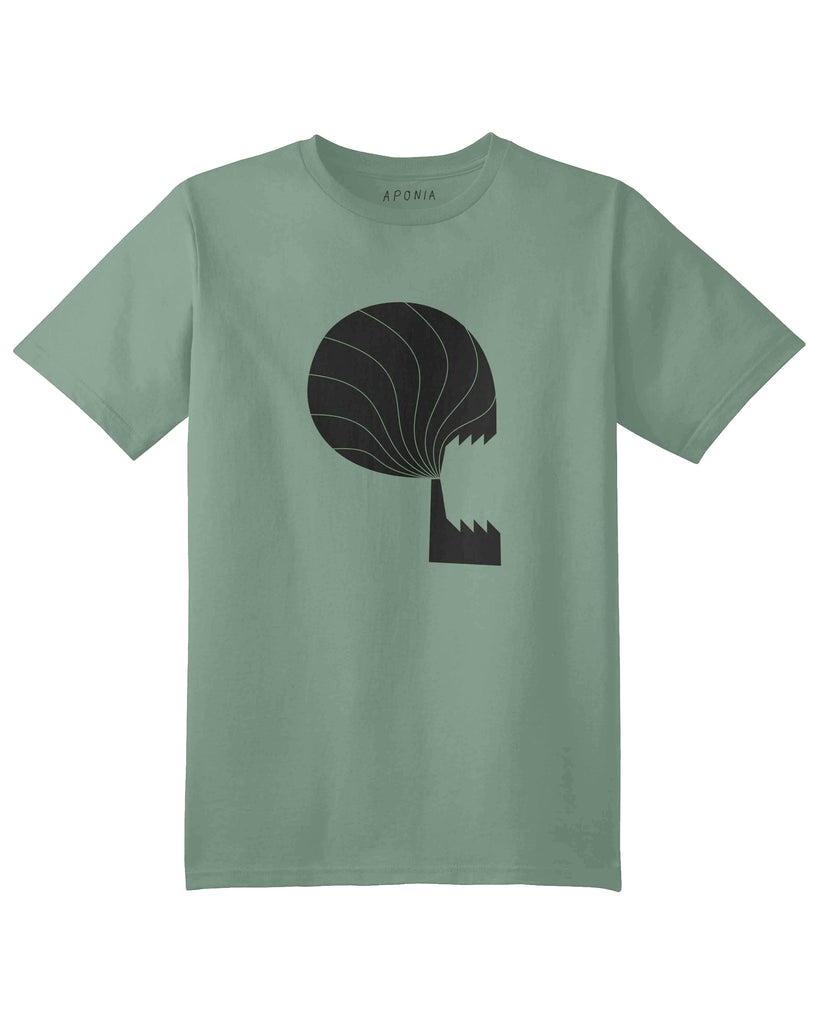 A green t shirt with graphic of a factory with a skull shape smoke coming out of its chimney.