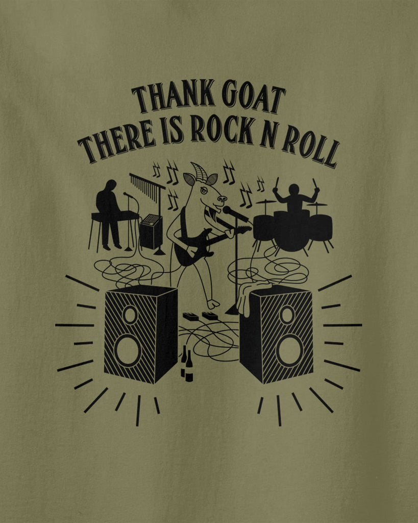 "graphic of a goat playing electronic guitar with his band and slogan of ""thank goat there is rock n roll"