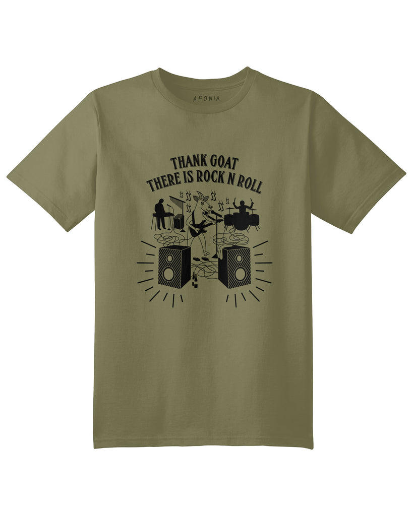 "A green t shirt with a graphic of a goat playing electronic guitar with his band and slogan of ""thank goat there is rock n roll"""
