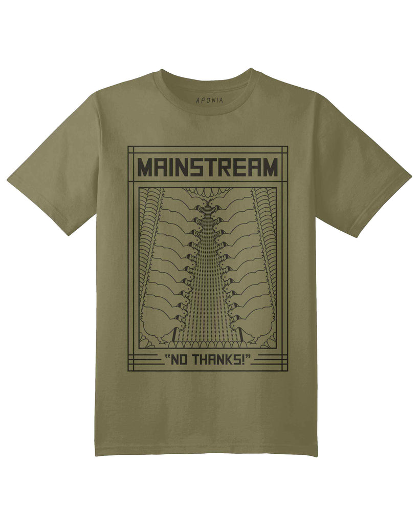 "An green t shirt with a graphic of 2 rows of chickens who are eating seeds in aviculture with slogan of ""mainstream? No thanks"""