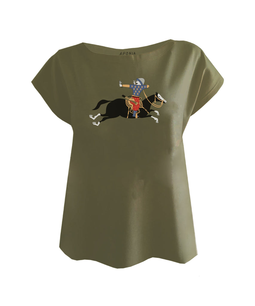 An olive ladies t shirt with a graphic of Turkish military archer on a horse that is taking a selfie photo