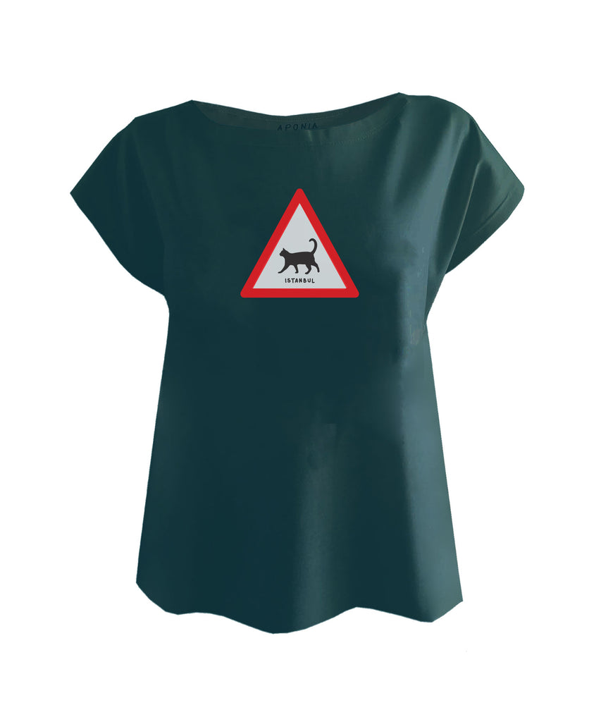 A blue ladies t shirt with the graphic of triangle traffic sign with a cat and underwritten of Istanbul