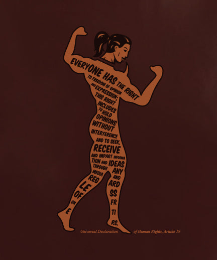 A red brown ladies t shirt with the gGraphic of a body builder with the article 19 of the universal declaration of human rights written on it