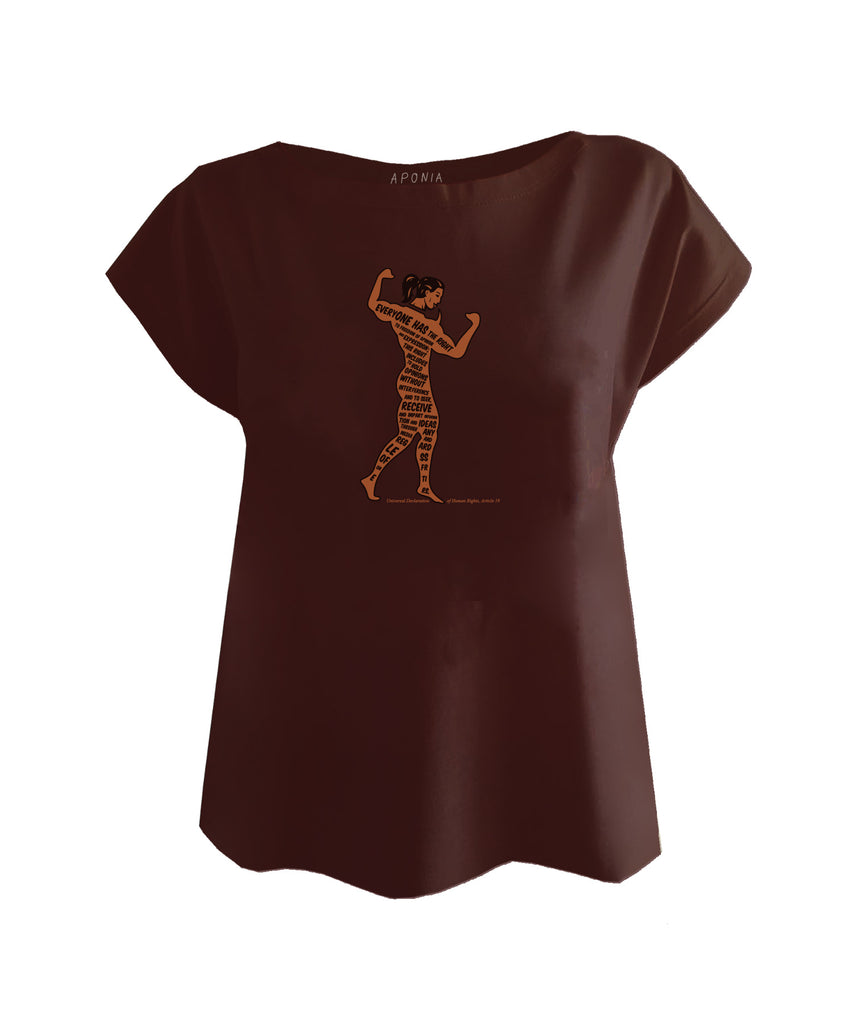 A red brown ladies t shirt with the graphic of a body builder with the article 19 of the universal declaration of human rights written on it