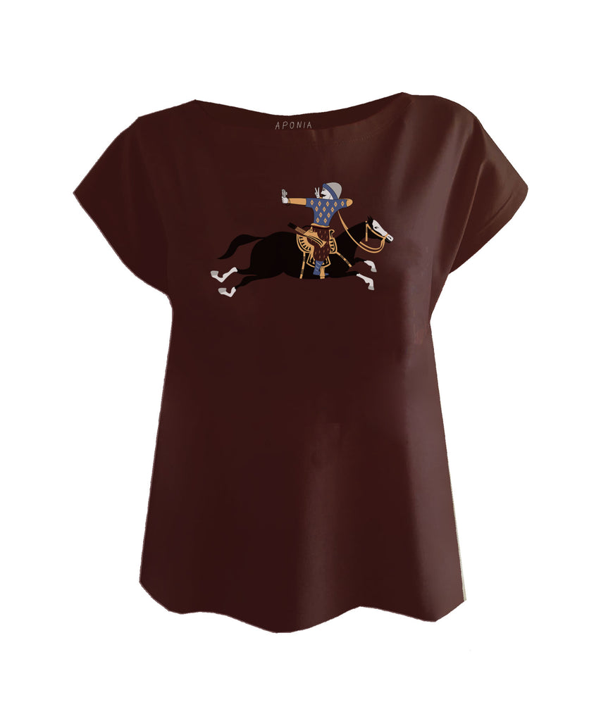 An brown ladies t shirt with a graphic of Turkish military archer on a horse that is taking a selfie photo