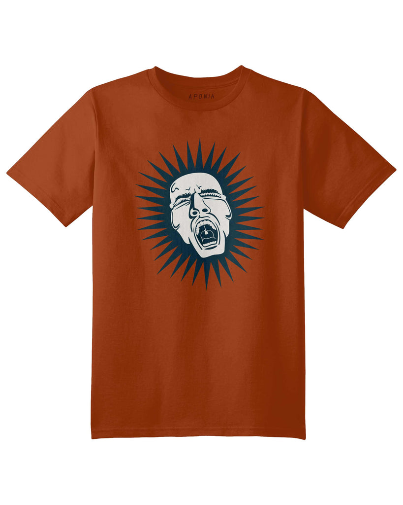 An orange t shirt with a graphic of a shrieking man with an small guitar in his  throat
