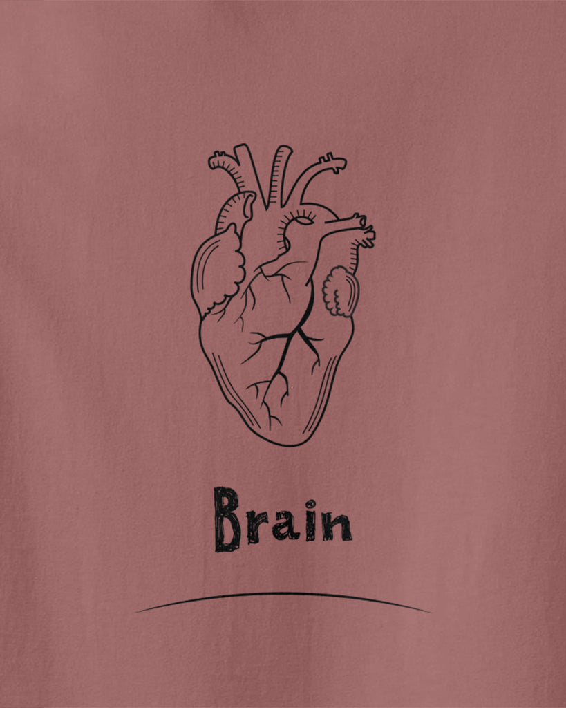 The graphic of a real heart with underwritten of Brain