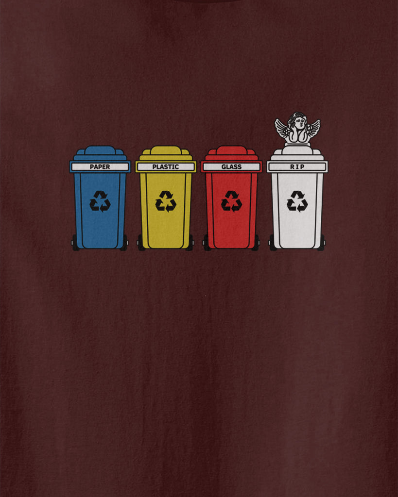 graphic of 4 recycle bins including paper,plastic, glass and RIP bin with an angel statue