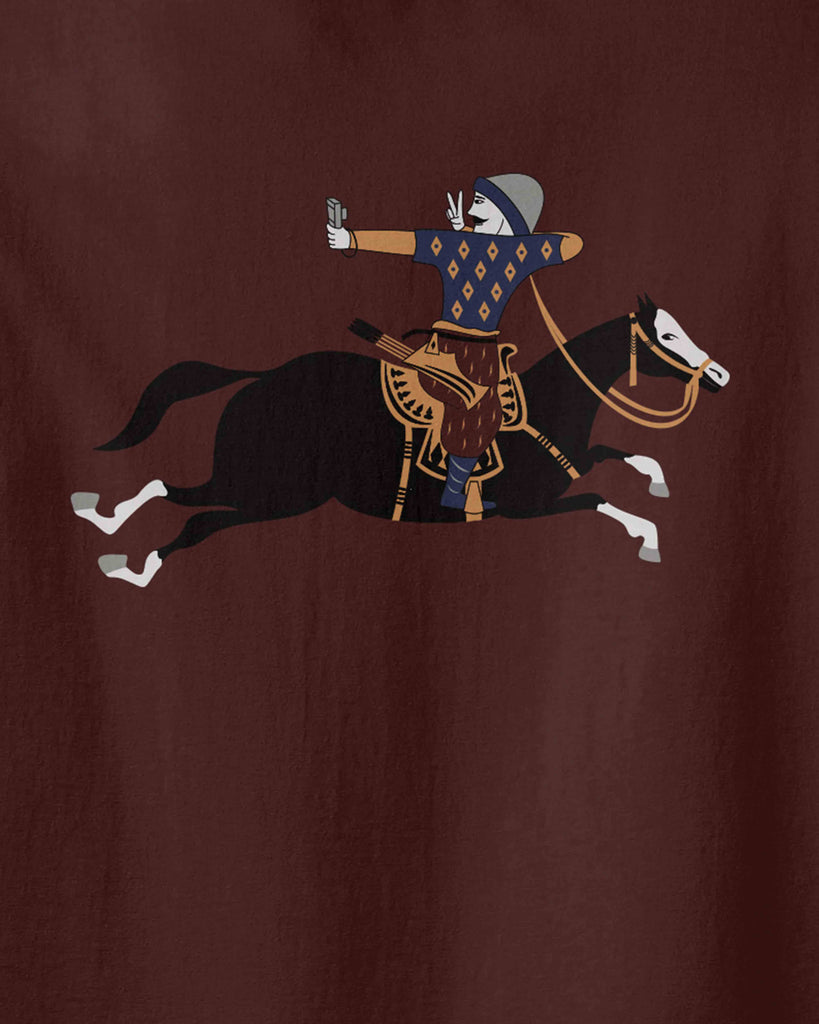the graphic of Turkish military archer on a horse that is taking a selfie photo