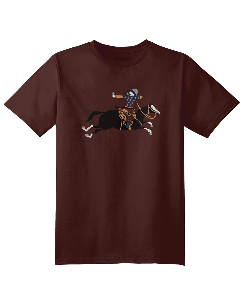An brown t shirt with a graphic of Turkish military archer on a horse that is taking a selfie photo