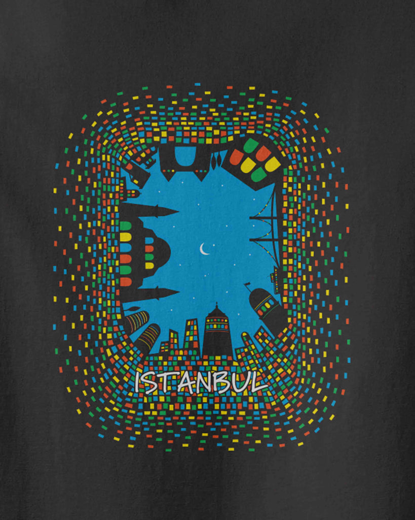 The graphic of Istanbul attractions at night with colorful window lights and underwritten of Istanbul