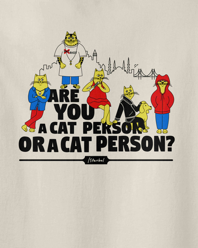 the graphic of different-style cats with the slogan of are you a cat person or a cat person?