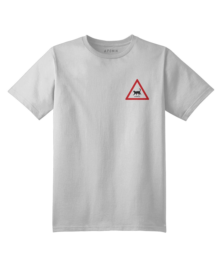 A white t shirt with the graphic of a walking cat triangle traffic sign and underwritten of Istanbul