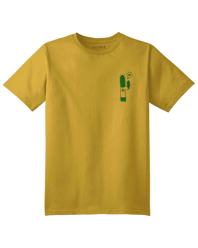 A yellow t shirt with the graphic of a little cactus saying hi!