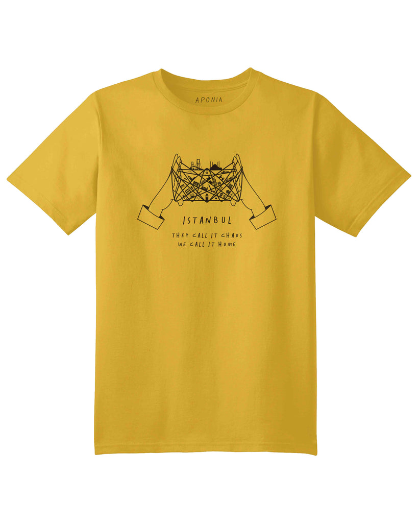 "A yellow t shirt with a graphic of cat's cradle with Istanbul attractions on the thread and slogan of ""they call it chaos, we call it home"""